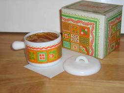1973 Avon Patchwork Perfumed Candle and Holder