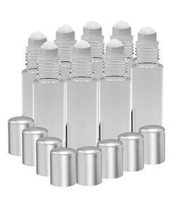 8 Pack - Essential Oil Roller Bottles  10ml Refillable Glass