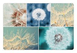 Ambesonne Dandelion Pet Mat for Food and Water, Blooming Dan