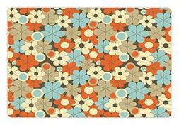 Ambesonne Floral Pet Mat for Food and Water, Retro Flower Pa