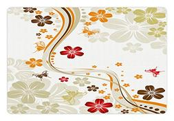Ambesonne Floral Pet Mat for Food and Water, Swirling Floret