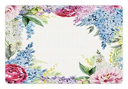 Ambesonne Flower Pet Mat for Food and Water, Springtime Frag