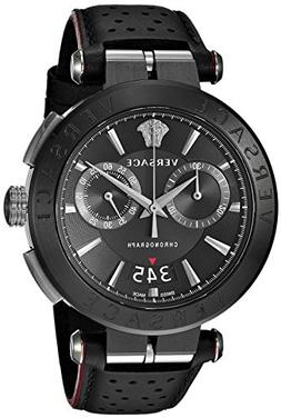 Versace Men's 'Aion Chrono' Quartz Stainless Steel and Leath