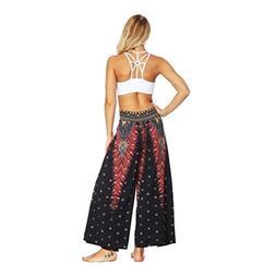 Women Baggy Boho Aladdin Harem Wide Leg Pants Casual Summer