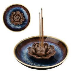 backflow ceramic incense burner holder lotus plate