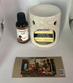 Ceramic Oil Warmer Set with free 1 Oz. Clove Fragrance Oil +