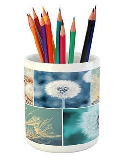 Ambesonne Dandelion Pencil Pen Holder, Blooming Dandelion Fl