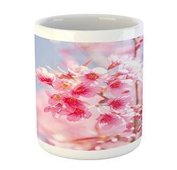 Ambesonne Floral Mug, Sakura Blossom Branches Flower Essence
