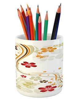 Ambesonne Floral Pencil Pen Holder, Swirling Florets Fragran