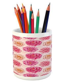 Ambesonne Floral Pencil Pen Holder, Romantic Rose Petals Fra