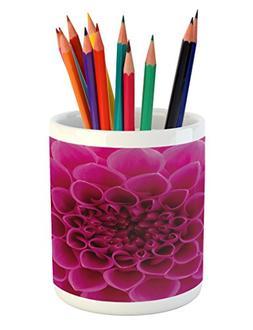 Ambesonne Floral Pencil Pen Holder, Close-Up Flower Petals F