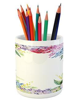 Ambesonne Flower Pencil Pen Holder, Springtime Fragrance Gar