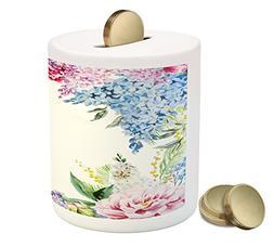 Ambesonne Flower Piggy Bank, Springtime Fragrance Garland wi
