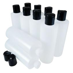 Kelkaa 8oz HDPE Durable Squeezable Plastic Bottles with Blac