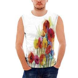 iPrint Mens Workwear Watercolor Flower Home Decor Ultra Cott