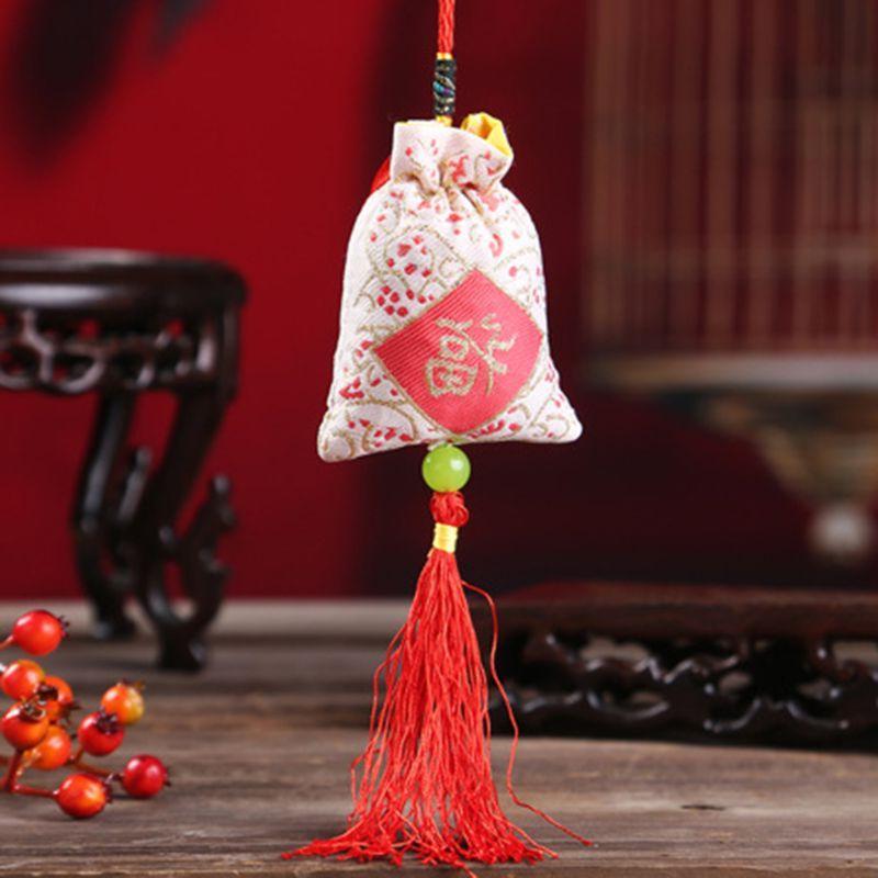 4PCS Hanging Sachet Bag Folk Word Tassels Medicine Decoration
