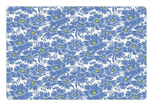 Ambesonne Floral Pet Mat for Food and Water, Corsage Daisy J