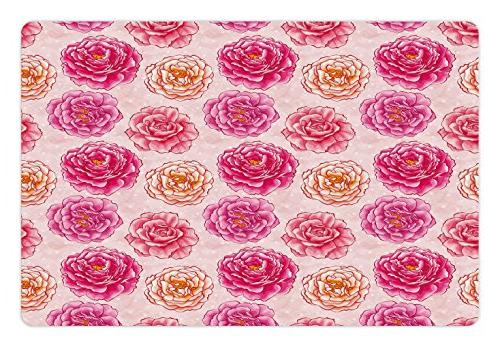 Ambesonne Floral Pet Mat for Food and Water, Romantic Rose P