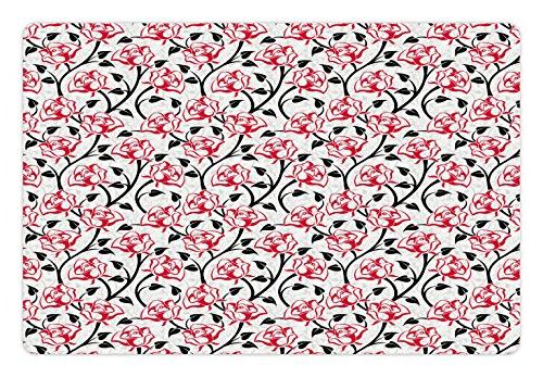 Ambesonne Floral Pet Mat for Food and Water, Romantic Roses
