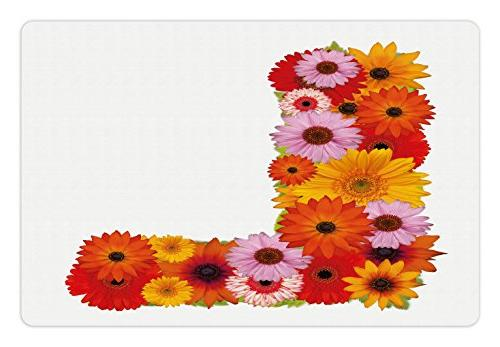 Ambesonne Letter L Pet Mat for Food and Water, Flower Alphab