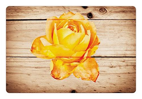 Ambesonne Rustic Pet Mat for Food and Water, Rose Flower wit