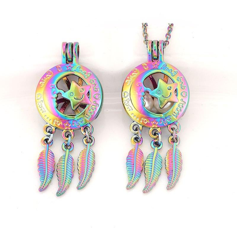 Colorful pendant cage smiley <font><b>fragrance</b></font> necklace