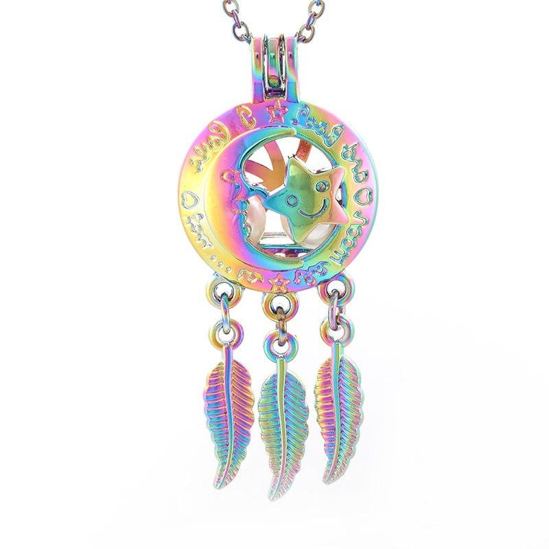 colorful aromatherapy pendant pearl cage hollow smiley