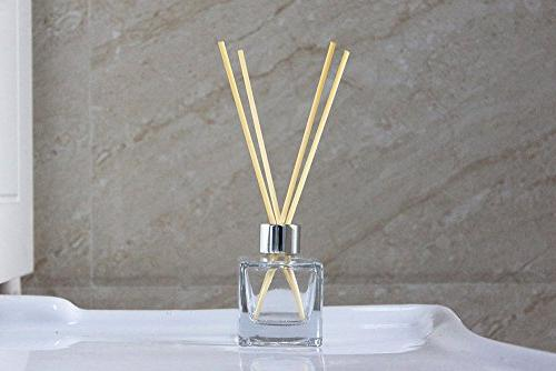 """Feel Glass Bottles with Silver Refillable Diffuser of 4-2.5"""" High, 1.7 oz. Square Shape, Use Reed Diffuser"""