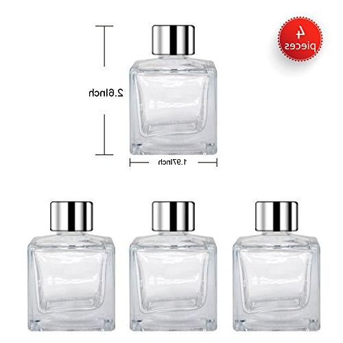 Feel Glass Bottles Silver Refillable of 1.7 Square Shape, Fragrance Use Diy Reed