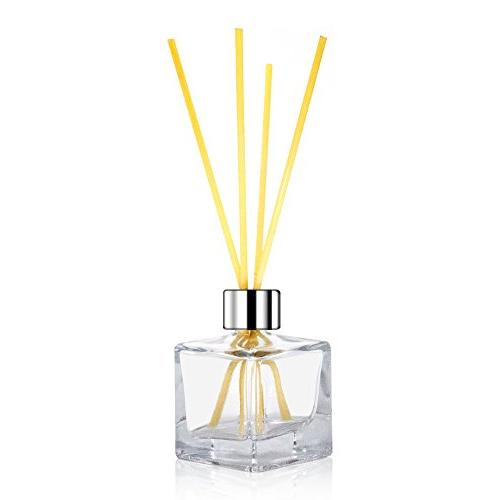 """Feel Fragrance Glass Diffuser Bottles with Silver Refillable of 4-2.5"""" High, 1.7 fl Square Fragrance Use for Diy Reed"""