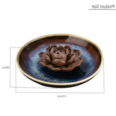 US Ceramic Incense Holder Burner Lotus Plate Home Incense