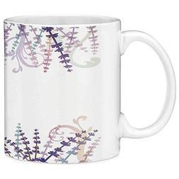 Lead Free Ceramic Coffee Mug Tea Cup White Lavender 11 Ounce