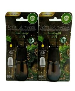 LOT OF 2 NEW AIR WICK ESSENTIAL MIST OIL REFILLS WOODLAND PI