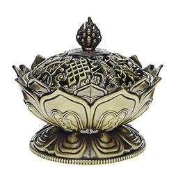 Saim Lotus Flower Chinese Buddha Alloy Metal Incense Burner