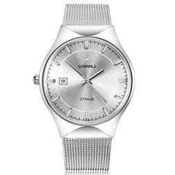 Mens Womens Dress Wrist Watch, Stainless Steel Band Analog Q