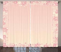 Ambesonne Pale Pink Curtains, Floral Wreath Frame with Bunch