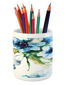 Ambesonne Art Pencil Pen Holder, Summer Flowers Essence Grow