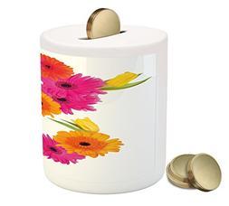 Ambesonne Letter S Piggy Bank, Fragrance C Garden Flourishin