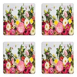 Ambesonne Rustic Coaster Set of Four, A Bunch of Flowers Ran