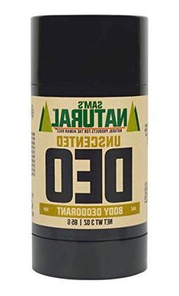 Sam's Natural Deodorant Stick - Unscented, Fragrance-Free,