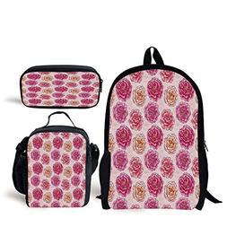 School Lunch Pen Bags,Floral,Romantic Rose Petals Fragrance
