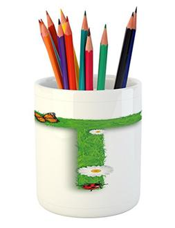 Ambesonne Letter T Pencil Pen Holder, Caps T with Flourishin