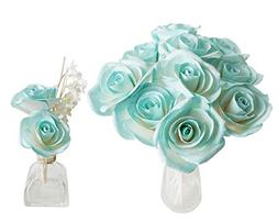 Plawanature Turquoise Blue Rose Mulberry Paper Flower with R
