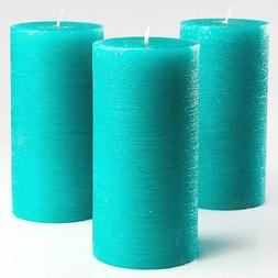Turquoise/Teal Unscented Pillar Candles 3 x 6 Inch Set of 3