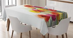 Ambesonne Watercolor Flower Home Decor Tablecloth, Gerbera B