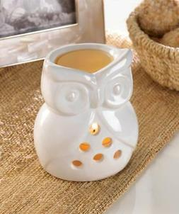 white ceramic owl candle holder wax oil