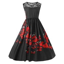 Fiaya Women Plus Size Lace Patchwork Butterfly Print Party E